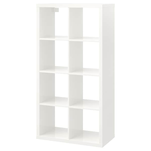 KALLAX Shelving unit, high-gloss white, 77x147 cm
