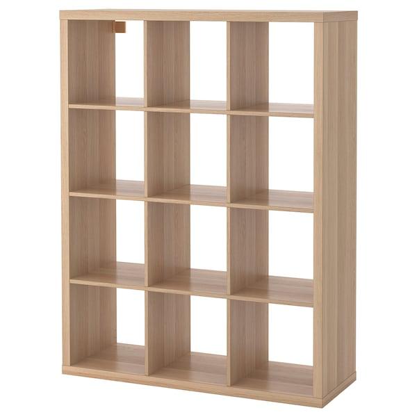 KALLAX Shelving unit, white stained oak effect, 112x147 cm