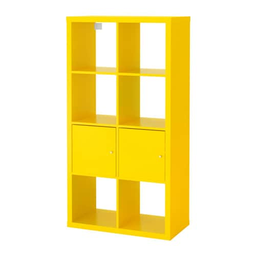 kallax shelving unit with doors yellow 77x147 cm ikea. Black Bedroom Furniture Sets. Home Design Ideas