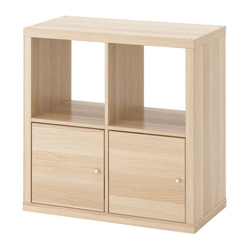 kallax shelving unit with doors white stained oak effect ikea. Black Bedroom Furniture Sets. Home Design Ideas