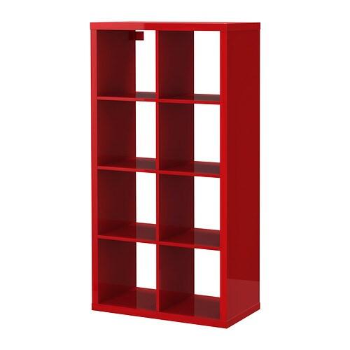 The glossy red Kallax, via IKEA