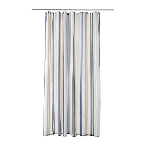 KALVSJÖN Shower curtain IKEA Densely-woven polyester fabric with water-repellent coating.