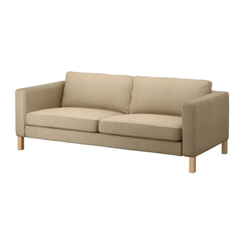 Fabric three seater sofas ikea for Couch beige