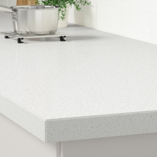 KASKER Custom made worktop, white mineral effect/quartz, 1 m²x4.0 cm