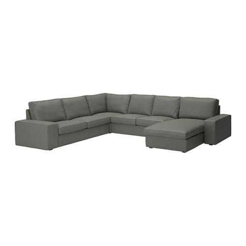 Kivik Corner Sofa 5 Seat Borred Grey Green Ikea