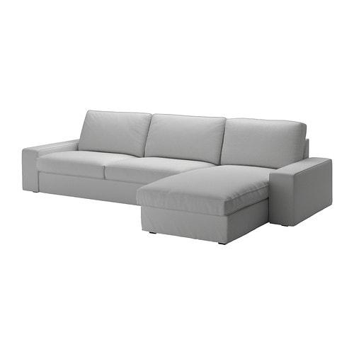 Kivik three seat sofa and chaise longue orrsta light grey ikea - Chaise longue exterieur ikea ...