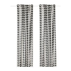 KLARASTINA curtains, 1 pair, white/black