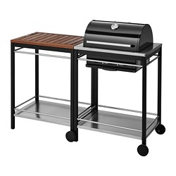 KLASEN charcoal barbecue with trolley, brown