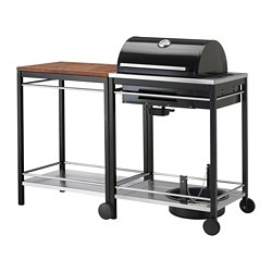 KLASEN gas barbecue with trolley, stainless steel, brown stained
