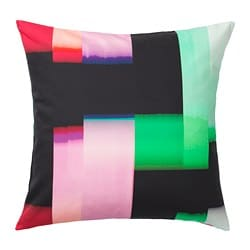 KLOCKRANKA cushion cover, black, multicolour