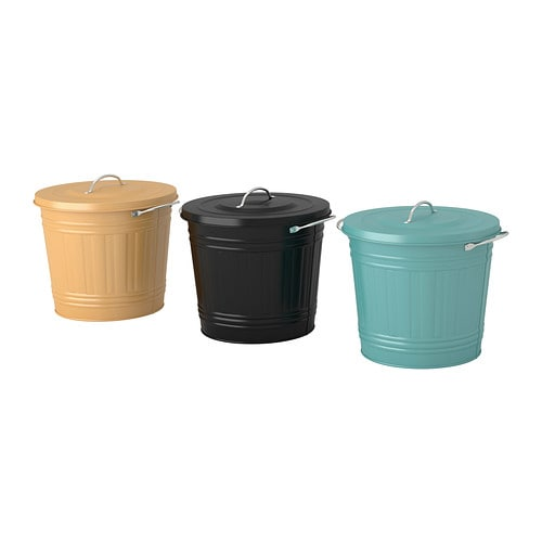 KNODD Bin with lid IKEA The lid comes with a hook you can use to attach the lid to the bin; makes it easier to fill and empty the bin.