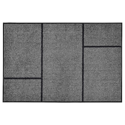 KÖGE Door mat, grey/black, 102x152 cm