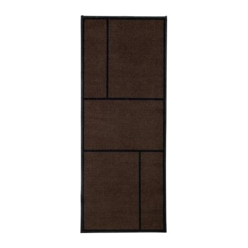 KÖGE Rug, low pile IKEA Easy to keep clean - just vacuum, shake or rinse.  Stays firmly in place since it has rubber on the underside.