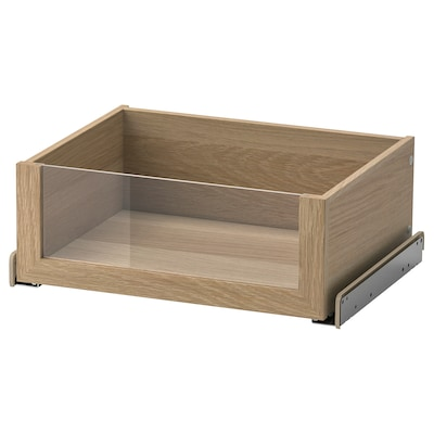 KOMPLEMENT Drawer with glass front, white stained oak effect, 50x35 cm