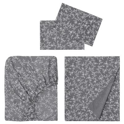 KOPPARRANKA 4-piece sheet set, floral patterned, Queen