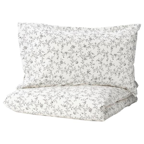 KOPPARRANKA Quilt cover and 2 pillowcases, white/dark grey, 200x200/50x80 cm