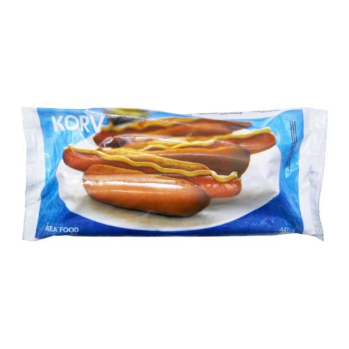 KORV Sausage, frozen IKEA A long and thin wiener sausage.   Simmer or fry, and serve in hot dog bread.   Add ketchup, mustard and fried onions.