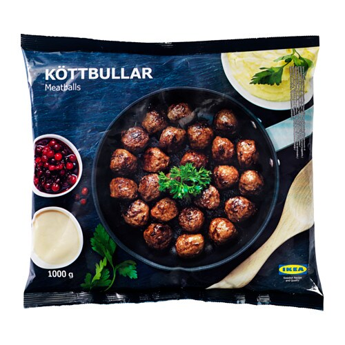 KÖTTBULLAR Meatballs, frozen IKEA Only natural ingredients: meat (84%), onion, breadcrumbs, egg, water, salt and pepper.