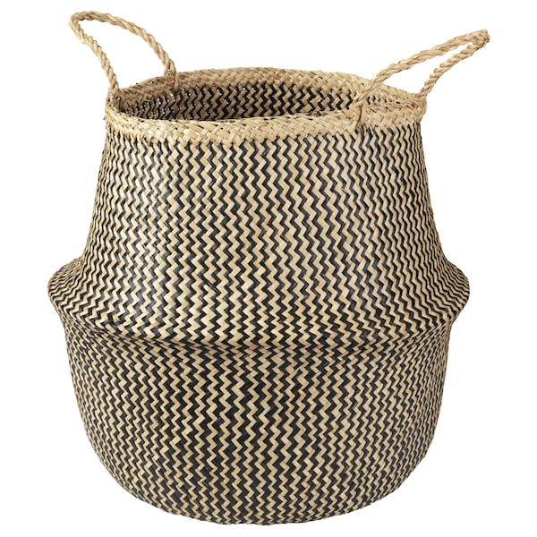 KRALLIG Basket, seagrass/black, 38 cm