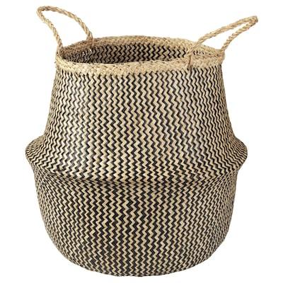 KRALLIG Basket, seagrass/black, 38 cm