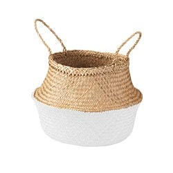 KRALLIG basket, seagrass, white
