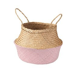 KRALLIG basket, seagrass, light pink