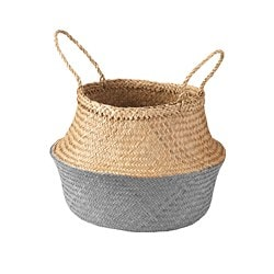 KRALLIG basket, seagrass, dark grey