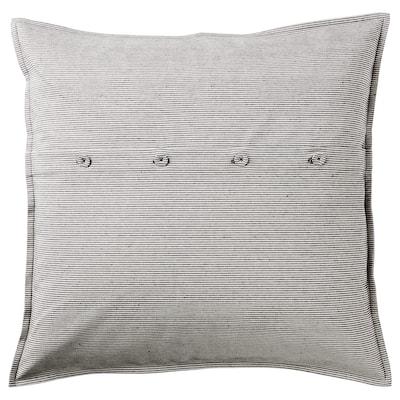 KRISTIANNE Cushion cover, white/dark grey striped, 50x50 cm