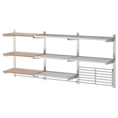 KUNGSFORS Susp rail/shelf/rail/wall grid, stainless steel/ash veneer