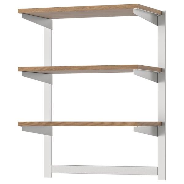 KUNGSFORS Susp rail w shelf/mgnt knife rack, stainless steel/ash