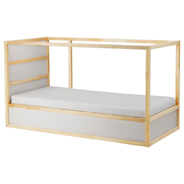 KURA Reversible bed, white/pine, Single