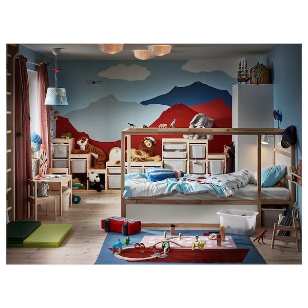 KURA Reversible bed, white/pine, Single