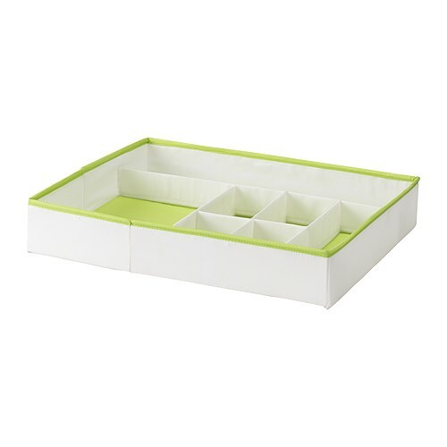 KUSINER Box with compartments IKEA Inside organiser for socks, underwear and other small things.   Fits perfectly in STUVA drawers.