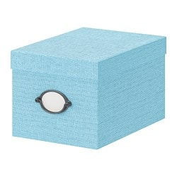 KVARNVIK storage box with lid, blue