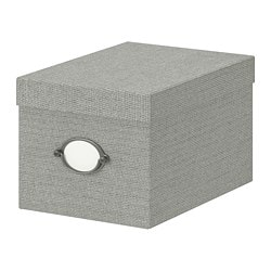 KVARNVIK storage box with lid, grey