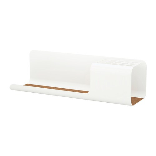 KVISSLE Desk organiser IKEA Holds your pens, rulers, mobile etc.  Cork liner in the bottom keeps your things in place.