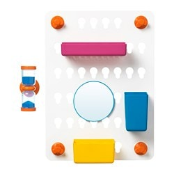 LÅDDAN 6-piece storage board set, with suction cups, assorted colours mixed colours