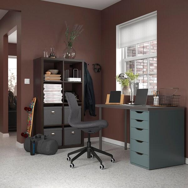 LAGKAPTEN / ALEX Desk, dark grey/grey-turquoise, 120x60 cm