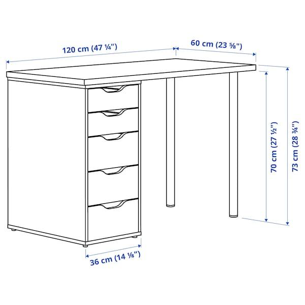 LAGKAPTEN / ALEX Desk, dark grey/white, 120x60 cm