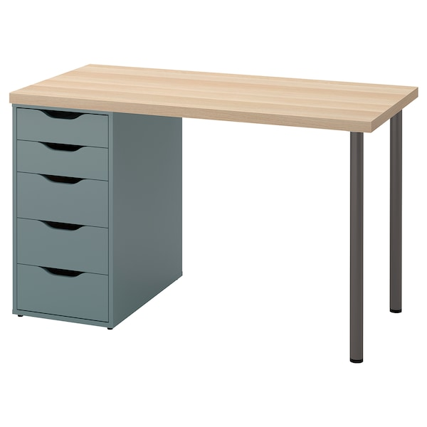LAGKAPTEN / ALEX Desk, white stained oak effect/grey-turquoise, 120x60 cm