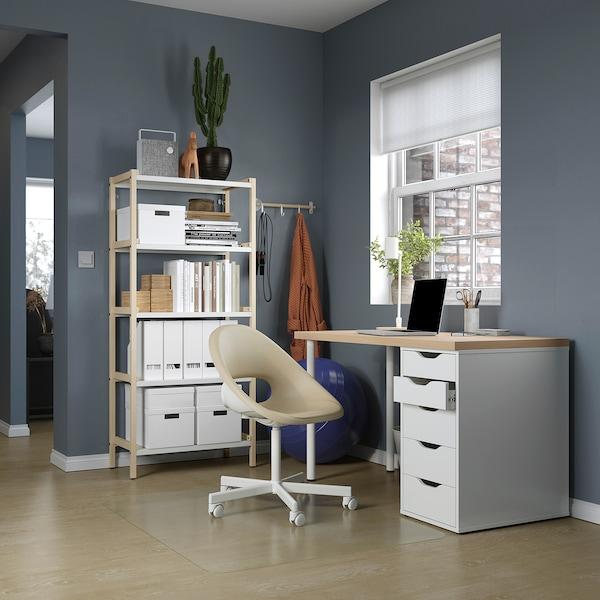 LAGKAPTEN / ALEX Desk, white stained oak effect/white, 120x60 cm