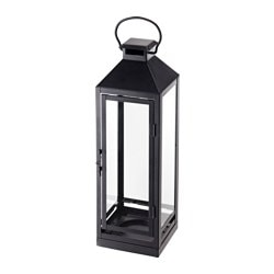 LAGRAD lantern f block candle, in/outdoor, black