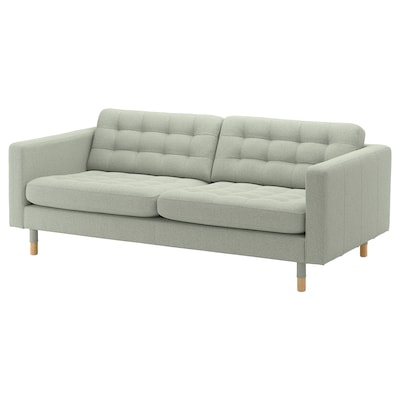 LANDSKRONA 3-seat sofa, Gunnared light green/wood