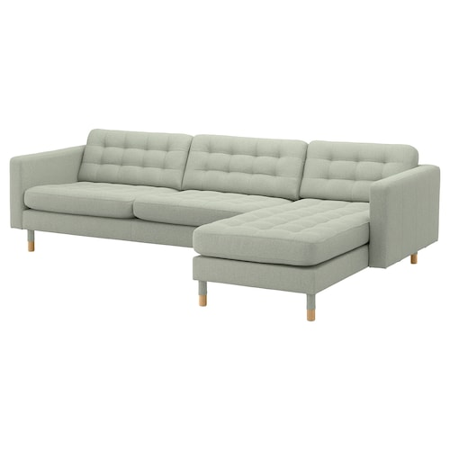 LANDSKRONA 4-seat sofa with chaise longue/Gunnared light green/wood 158 cm 282 cm 89 cm 78 cm 64 cm 180 cm 56 cm 44 cm