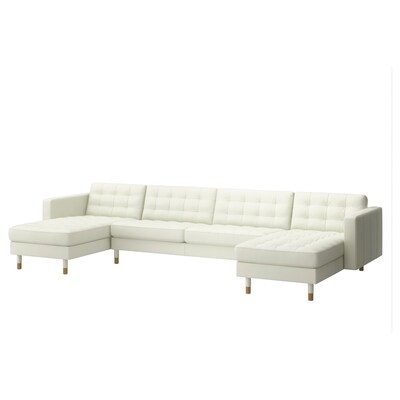 LANDSKRONA 5-seat sofa, with chaise longues/Grann/Bomstad white/wood
