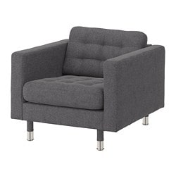 LANDSKRONA armchair, Gunnared dark grey/metal