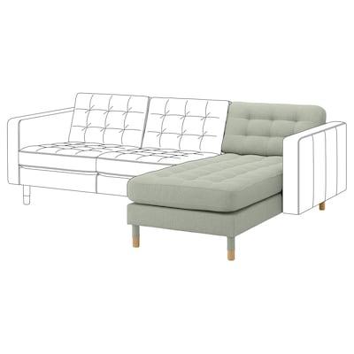 LANDSKRONA Chaise longue, add-on unit, Gunnared light green/wood