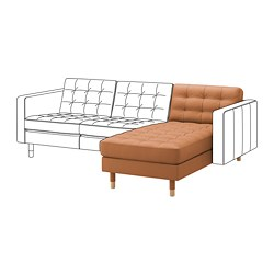 LANDSKRONA chaise longue, add-on unit, Grann/Bomstad golden-brown/wood