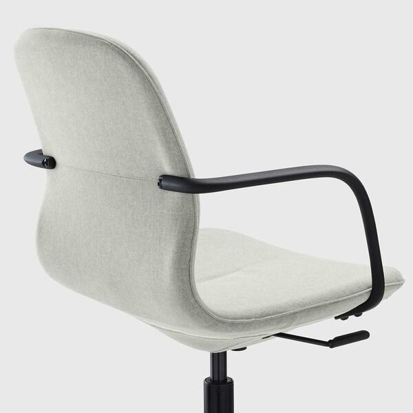 LÅNGFJÄLL Conference chair with armrests, Gunnared light green/black