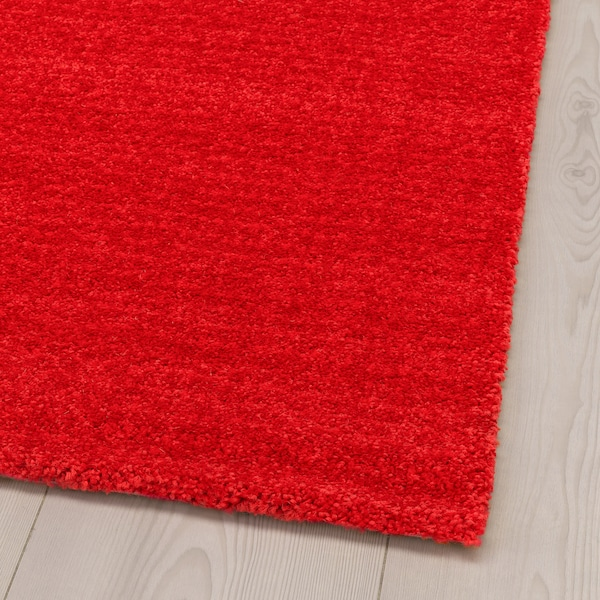 LANGSTED Rug, low pile, red, 133x195 cm
